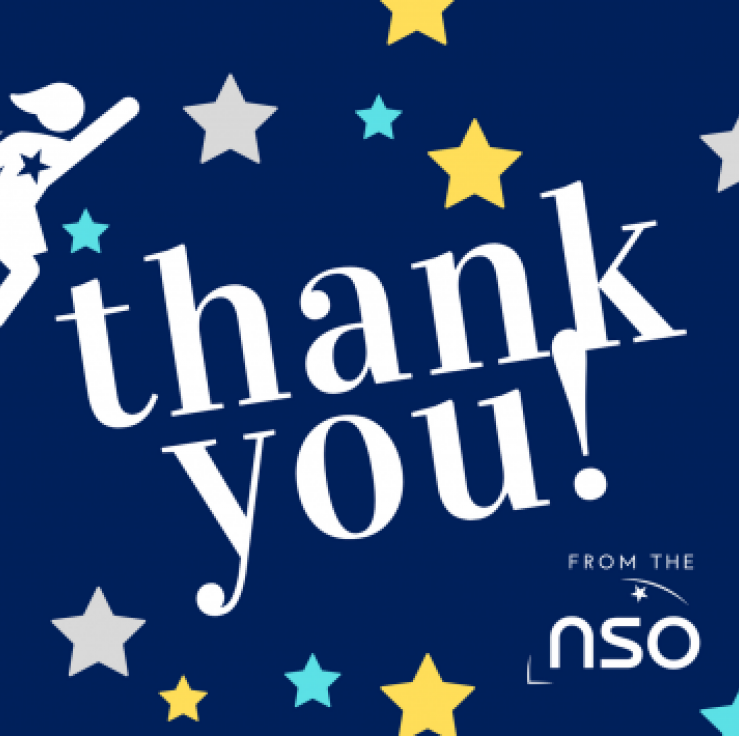 A post card with the words 'Thank you from the NSO' on a dark blue background with stars.